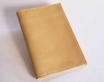 Top-Stub Checkbook Holder - Yellow Leather Check Book Cover