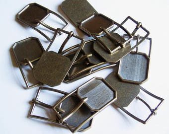 """Lot of 12 - Antiqued Brass Finish Belt Buckles - 1  1/4"""" Inlay Buckle Blanks"""