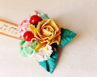 Ginger Aqua Cherry Red Pink Roses Mixed bunch Vintage style Millinery Flower spray Bouquet floral corsage