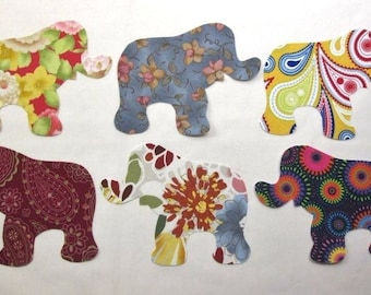 Set of 6 Lg Elephant Fusible Iron-on Cotton Fabric Appliques