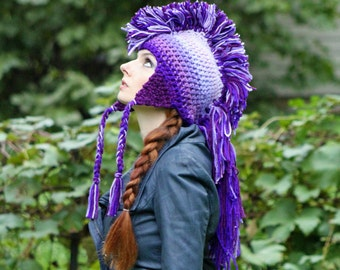 Lilac and Purple Ombre Mohawk Hat Extreme Style Unique Handmade Gift