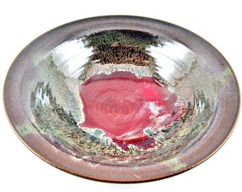 pottery serving bowl, stoneware serving dish, Brown and red pottery bowl - In stock