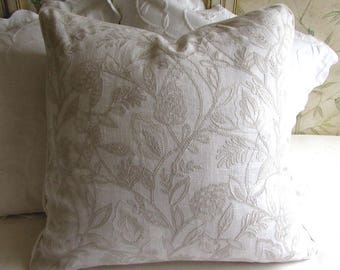 EURO pillow cover 24x24 Ecru on White decorative linen embroidered fabric with piping