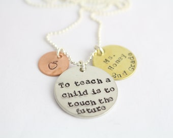 Personalized Teacher End of The Year Thank You Necklace - Custom Teach Present - Gift From Child or Student - Apple Gift