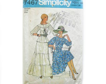 1970s Boho Tiered Dress Pattern / Simplicity 7467 / Two Piece Top & Ruffled Skirt Vintage Sewing Pattern / Size 12-14