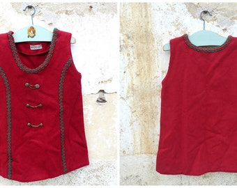 Vintage 1970/70s Authentic Girl Dirndl Tyrol Austria german pinafore Dress  red wool felt fabric size 4 years