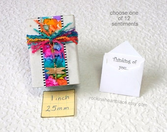 Matchbox Art - treasure box container in rainbow colors, with gift card (your choice of sentiment) and little ball feet