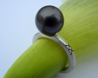 Ring Tahitian Pearl Sterling Silver Ready to ship from Marc Gounard Sausalito CA recycled sterling silver OOAK