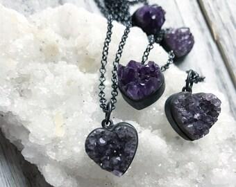Raw amethyst necklace   Druzy necklace   Amethyst druzy necklace   Boho necklace   Gypset   Birthstone necklace   Brazilian jewelry