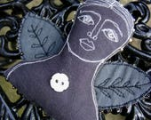 Textile art - a beautiful dark handmade embroidered angel, a unique textile gift and ornament, an original design