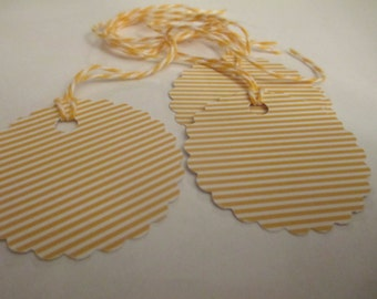 8 Yellow Striped Hang Gift Tags