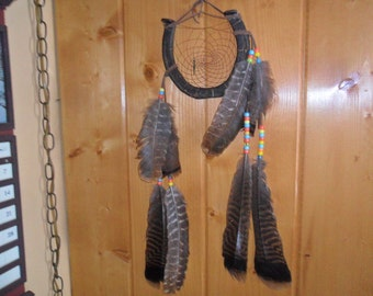 "Rid Bad Dreams w/My Handmade Lucky VINTAGE HORSESHOE Dream Catcher - 6"" width x 21"" length"