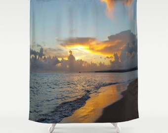Shower Curtains, Shower Curtain Bathroom Photography Ocean Sunset Sea Photo 17 by L.Dumas