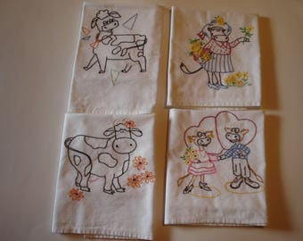Vintage looking buty New Hand Embroidered dishtowels  COWS  Set of 4                           Item 117