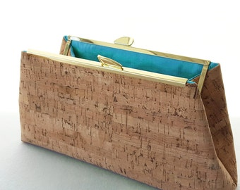 Cork Clutch - Natural Cork Handbag Purse - Silk Lining - Ecofriendly Vegan Bag - Made to Order by UPSTYLE