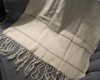 Exquisite Cream Color Damask  Table Runner Fringed, 38 x 22 + inches Table Topper, Table Runner, Wedding Table