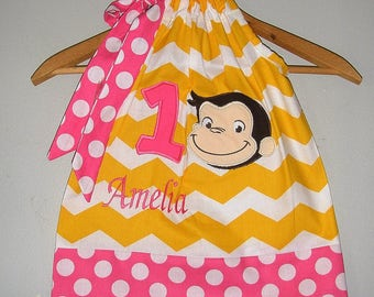 Curious George Dress pink dots Number  Monogrammed yellow Chevron applique pillowcase dress 3 6,9,12 18 month 2t, 3t,4t 5t,6,7,8,10