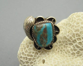 Vintage Sterling Boulder Turquoise Ring Boho Jewelry R6999