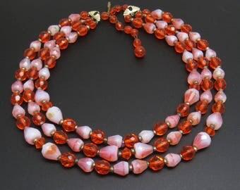 Vintage Multi Strand Necklace Orange Bead Bib Jewelry N7772