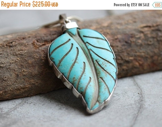 Statement OOAK Leaf pendant - Turquoise pendant - Artisan pendant necklace - Gemstone pendant - Bezel set - Christmas gift idea