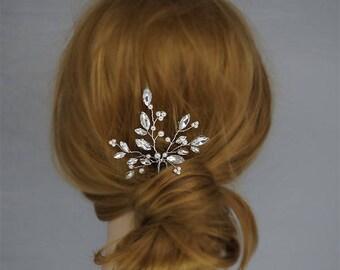 Bridal Hair Pin,Wedding Hair Accessories, Crystal Hairpin , Gold  Bridal Headpieces, Wedding hair clip, Swarovski Pearls Hair Piece