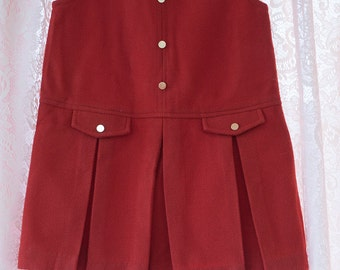 Vintage Girl's Dress  - Adorable Jumper Pleats Rust Burnt Orange New Grants 6X
