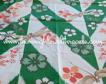 Mod Dragonflies - Novelty Vintage Fabric 60s New Old Stock 36 in wide Green Orange