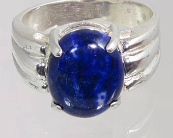 Lapis Lazuli 4.39 carats Handset in .925 Sterling Silver Ring    NOW on SALE - Fast Free Shipping