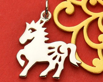 The Horse Necklace - Solid 925 Sterling Silver Chinese Zodiac Year of the Horse Charm - Insurance Included