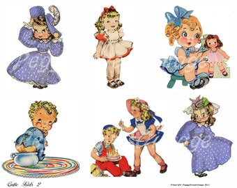 Cutie Kids 2 Digital Collage from Vintage Greeting Cards   - Cut Outs - Instant Download