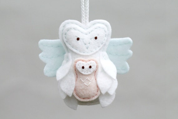 Remembrance Keepsake Ornament Guardian Angel Owl Holding Baby, Felt Christmas Ornament Keepsake Handmade by Ordinary Mommy Design