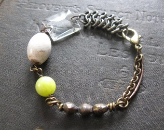 Lime Ade - Spring Crystal Bracelet With Howlite and Jade