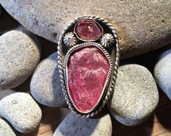 Raw pink Tourmaline Ring