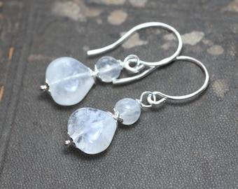 Moonstone Earrings Rustic Jewelry White Gemstone Earrings Silver Earrings