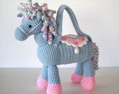 Crochet Unicorn Pony Horse Purse for Girls Light Blue with Pastel Colors Curly Mane Tail