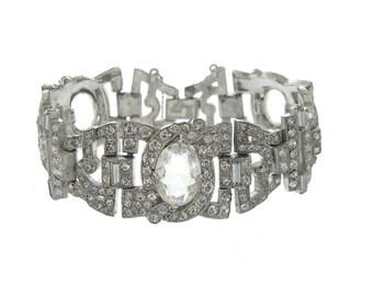 Antique 1920 Art Deco Bracelet, Vintage High Art Deco, Wide Rhinestone Cuff, Designer Deco Wedding Jewelry