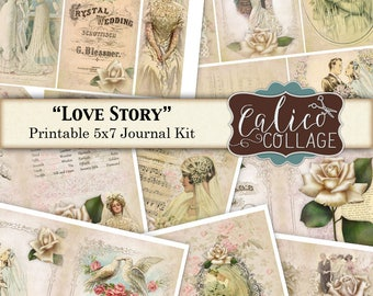 Love Story, Printable Journal, Victorian Wedding, Printable Pages, Journal Kit, Junk Journal, Printable Ephemera, Wedding Journal, Digital