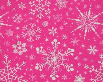 Pink snowflakes 1 yard cotton lycra knit