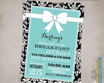 Fancy Damask Birthday Invitation, Custom Turquoise Wedding Breakfast Invite