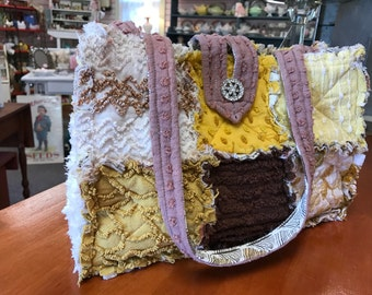 Harvest Gold Vintage Chenille Fabric Purse