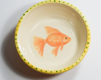 Cat Food Dish with Hand Painted Goldfish / Pet Food Bowl