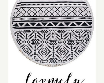 ON SALE The Sierra Round towel-  round beach towel with tassel accent-  Towel / Throw / Yoga mat / Tapestry