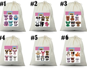 12 beanie boo Birthday Party Favor Candy Loot Treat Drawstring Bags