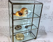 Vintage Brass and Glass display cabinet curio collections miniature Show case