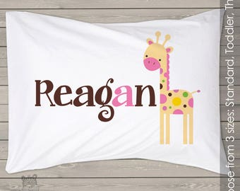giraffe pillowcase - personalized kids pillow in three different sizes PIL-006