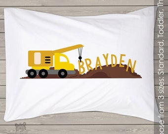 Construction truck pillowcase / pillow - custom personalized pillowcase great birthday gift PIL-069