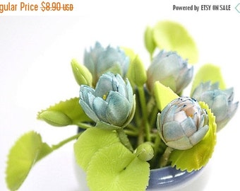 Miniature Polymer Clay Supplies Handmade Lotus and Leaves