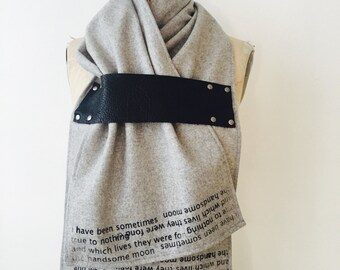Holiday Gift Sale Wool Scarf e.e. cummings poetry, black leather artisanal accessories fashion holiday gifts
