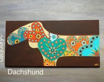 Dachshund Art on Wood