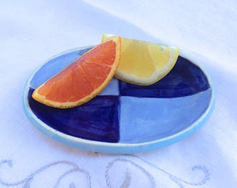 Blue Oval Dish, Small Blue Dish, Oval Soap Dish, Blue Dish, Spoon Rest, Small Serving Dish, Blue Plate, Blue Tableware, Handmade Pottery